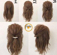 This hairstyle is easy and quick! Works best when you have a little curl on your hair, spray sea salt texturizing spray it to give you fullness and vo… - Coiffure Sites Pretty Hairstyles, Braided Hairstyles, Quick Easy Hairstyles, Hairstyle Ideas, Simple Hairdos, Easy Everyday Hairstyles, Simple Updo, No Heat Hairstyles, Hair Simple