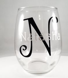 Personalized Name and Initial Stemless Clear Wine Glasses, 21 oz. 21 fl oz. Stemless White Wine glass / *made with outdoor high quality permanent adhesive backed signage vinyl.