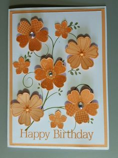 Card designed by Sandy - made with Stampin Up Flower Shop stamp set, punches and ink with other papercraft products.