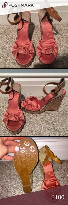 Tory Burch Size 7 Wedges Never worn! Tory Burch Summer Wedges with a cute comfy peep toe! For a true size 7! These are for someone with a narrow foot! Tory Burch Shoes Wedges