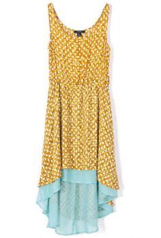 Vestido tirantes gasa estampado topos-Amarillo