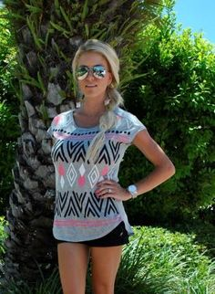 Gray Short Sleeve Top - Gray Aztec Printed Tee