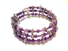 Amethyst, purple pearl, memory wire wrap cuff bracelet, lavender pearl beads, silver Bali beads by barefootcreekgifts on Etsy