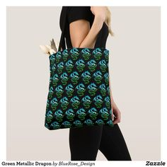 Green Metallic Dragon Tote Bag Printed Tote Bags, Artwork Design, Edge Design, Clutches, Metallic, Dragon, Sewing, Stylish, Silver
