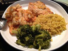 Jerk Shrimp, Spicy Chicken, Herb Rice,& Cajun Broccoli