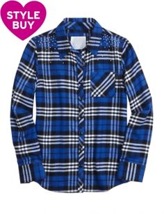 Embellished Plaid Button Up Shirt