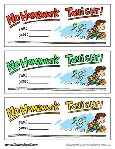 no homework pass printable