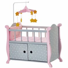 Teamson Olivia's Little World Baby Doll Furniture Nursery Crib Bed with Storage in Polka Dots