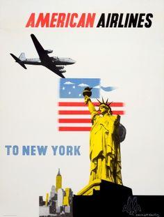 New York American Airlines DC-6 McKnight Kauffer, 1950s - original vintage poster by Edward McKnight Kauffer listed on AntikBar.co.uk