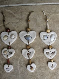 Wall Hangings, hearts with shells