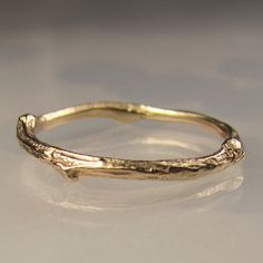 14k Gold Twig Band Gold Wedding Band 14k Yellow by JanishJewels, $219.00