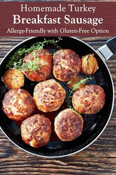 Homemade Turkey Breakfast Sausage Patties for Lean, Allergy-Friendly Protein. Dairy-free, soy-free, egg-free recipe with gluten-free option. Dairy Free Bread, Dairy Free Recipes, Gluten Free, Vegan Recipes, Healthy Cookie Recipes, Peanut Butter Recipes, Clean Eating Dinner, Clean Eating Recipes, Eating Healthy