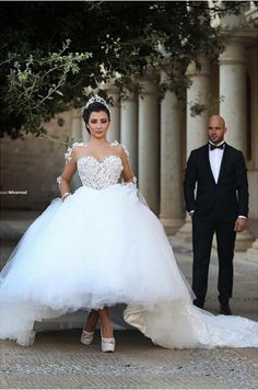 4fe87bcaa9 Arabic Said Mhamad Wedding Dresse Appliques Ball Gown Sheer Neck Long Sleeve  Plus Size Lace Up Back White Tulle Gowns Bridal Gowns Pink Dresses Wedding  ...