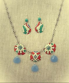 Jewelry made from vintage candy tin. Looks like Moroccan tile designs. up cycled, recycled, turquoise, chalcedony, graphic, color, bright
