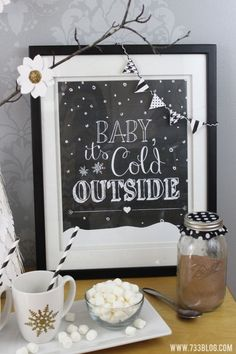Baby It's Cold Outside Free Printable with mini bunting made with Cricut Explore. Cute winter home decor.