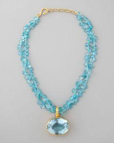 DINA MACKNEY  Blue Topaz Pendant Necklace