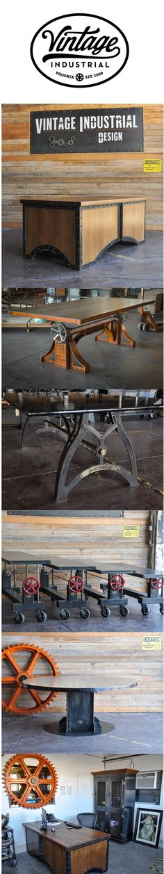 A collection of design by Vintage Industrial in Phoenix. Desks, dining tables, crank tables, armoire, and more. added: cast iron used in furniture to give that ' industrial' or 'aged' look. Vintage Industrial Furniture, Industrial Office, Industrial House, Rustic Industrial, Metal Furniture, Cool Furniture, Furniture Design, Vintage Design, Dining Tables