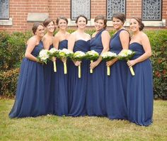 navy long bridesmaid dresses