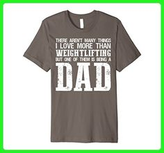 Mens I LOVE BEING A WEIGHTLIFTING DAD Father's Day Gift T-Shirt Medium Asphalt - Workout shirts (*Amazon Partner-Link)