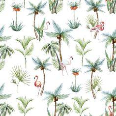 Flamingos at the Beach | Removable Wallpaper | WallsNeedLove