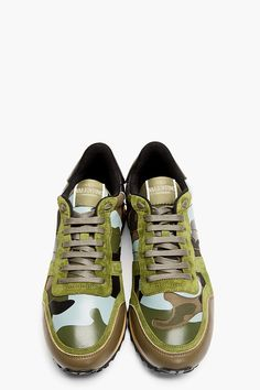 83765982a275 VALENTINO Green Patchwork Studded Camo Sneakers Mens Fashion Shoes