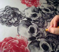 #roses #skulls #drawing #sketch #art