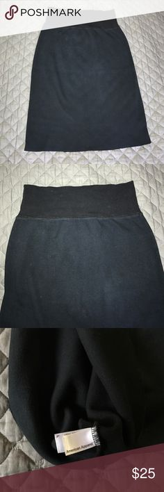 American Apparel High Waisted sweatshirt skirt Stretchy soft and very comply high waisted skirt from America Apparel. It is a size L but runs small and fits more like a medium. It's is a faded black sweatshirt material. American Apparel Skirts Pencil