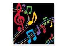 """PARTY TIME Music Notes Napkins - PARTY TIME Music Notes Napkins 5"""" square, folded. Pkg. of 16"""