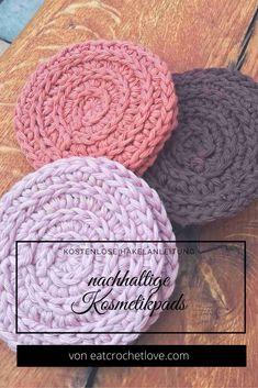 Kosmetikpads häkeln - kostenlose Häkelanleitung Knit Crochet, Crochet Hats, Evernote, Textiles, Needlework, Diy And Crafts, Coasters, Projects To Try, Crochet Patterns