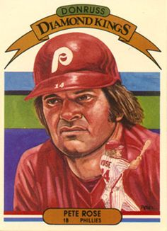 """Pete Rose"" for Donruss Diamond Kings baseball card series in 1983 by Dick Perez"