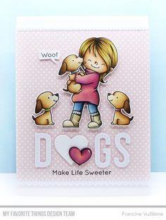 Stamps: Birdie Brown New Best Friend, Mirror Image Die-namics: Blueprints Blueprints Stitched Alphabet, Stitched Heart STAX Francine Vuillème Dog Cards, Kids Cards, Scrapbooking, Scrapbook Cards, Mft Stamps, Mini Albums, Animal Cards, Cards For Friends, Tampons