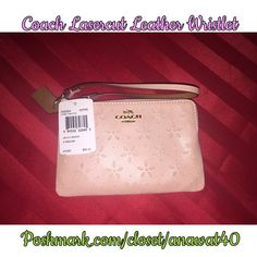 """COACH LASERCUT LEATHER WRISTLET Coach Laser Cut Flowers with Coach Horse & Carriage Gold Tone Metal Logo  Top Zip Closure - Gold Tone Hardware  Interior Features Fabric Lining & 2 Slip Pockets  Approximate Measurements: 6"""" (L) x 4"""" (H)  Color: Peach Rose Glitter Coach Bags Clutches & Wristlets"""