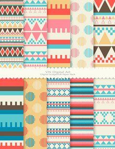 """Digital Paper, Aztec Digital Scrapbook Paper Pack (8.5x11""""-300 dpi) - INSTANT…"""
