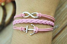 Anchor Bracelet  Infinity bracelet  Pink leather cord by Richardwu, $3.99