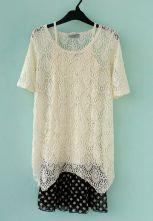 Beige Round Neck Short Sleeve Lace Polka Dot Chiffon Dress $33.44  #SheInside #hipster #love #cute #fashion #style #vintage