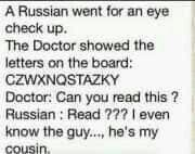 Russian at an eye check up