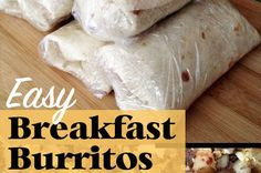 Easy breakfast burrito recipe - make ahead and freeze for a simple breakfast any time you need it! Frozen Breakfast, Breakfast Wraps, Breakfast Bites, Quick And Easy Breakfast, How To Make Breakfast, Best Breakfast, Breakfast Casserole, Bacon Breakfast, Overnight Breakfast