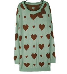 Heart Printed Green Sweater