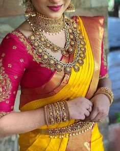 wedding saree and wedding saree indian Blingify your bridal situation with the best of jewellery from ! Book you. Wedding Saree Blouse Designs, Pattu Saree Blouse Designs, Half Saree Designs, Fancy Blouse Designs, Saree Wedding, Wedding Attire, Indian Bridal Sarees, Indian Bridal Outfits, Bridal Silk Saree