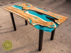 Live edge fresin river dining table with led lighting and image 0 Turquoise Color, Light Turquoise, Coffee Table To Dining Table, A Table, Tabletop, Wood Resin Table, Reclaimed Wood Desk, Wood Table Design, Live Edge Table
