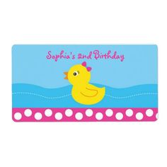 Pink Rubber Duck Water Bottle Labels