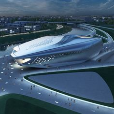 Zaha Hadid's style seems to be just about what I envision for Benton's architectural aesthetic