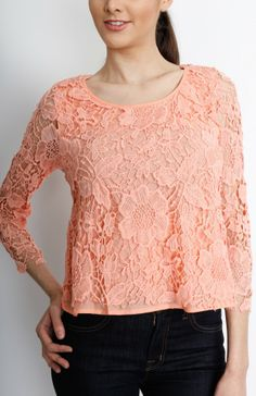 peach long sleeved floral crochet top wholesale tops casual day tops