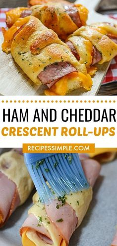 Ham and Cheddar Crescents Roll-ups are such an easy family favorite weeknight dinner and they are ready in just 20 minutes. Perfect for busy weeknights. via recipes easy family Ham And Cheddar Crescent Roll-Ups Crescent Roll Recipes, Crescent Rolls, Crescent Roll Appetizers, Crescent Roll Dough, Dinner Recipes Easy Quick, Quick Easy Meals, Quick Weeknight Dinners, Lunch Recipes, Easy Family Recipes
