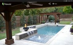 Fantastic pool designs which will make yours the best on the block Affordable, Premium Small Dallas Small Plunge Pool Rectangular Pool Design Ideas, Pictures, Remodel Decor Small Backyard Pools, Backyard Pool Landscaping, Backyard Pool Designs, Small Pools, Swimming Pools Backyard, Swimming Pool Designs, Landscaping Ideas, Backyard Gazebo, Backyard Ideas
