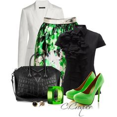 Black/White/Green Outfit by ccroquer on Polyvore featuring moda, Boudicca, Theory, Prabal Gurung, Givenchy, Kenneth Jay Lane and American Apparel