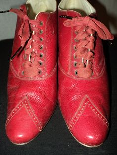1900s Turn of the Century Ladies Red Shoes Louis by Bellasoiree