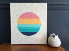 geometric modern canvas print by Tramake / sun / sunset / vintage inspired