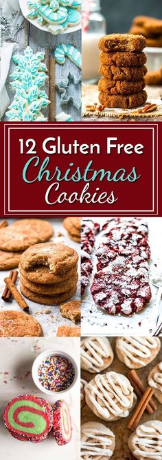12 Gluten Free Christmas Cookies All of the gluten free cookie recipes you need for the holiday season from snickerdoodles to cutout sugar cookies this list has got them. Gluten Free Christmas Recipes, Gluten Free Christmas Cookies, Gluten Free Cookie Recipes, Gluten Free Sweets, Gluten Free Baking, Holiday Recipes, Winter Recipes, Free From Recipes, Christmas Cut Out Cookies