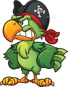 Angry pirate parrot. Vector clip art illustration with simple gradients. All in a single layer. EPS10 file included.